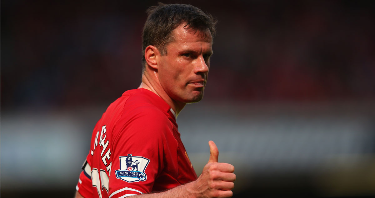 Liverpool's Jamie Carragher salutes a job well done