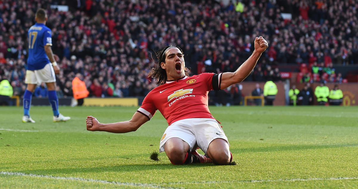 Radamel Falcao celebrates a rare Man Utd goal