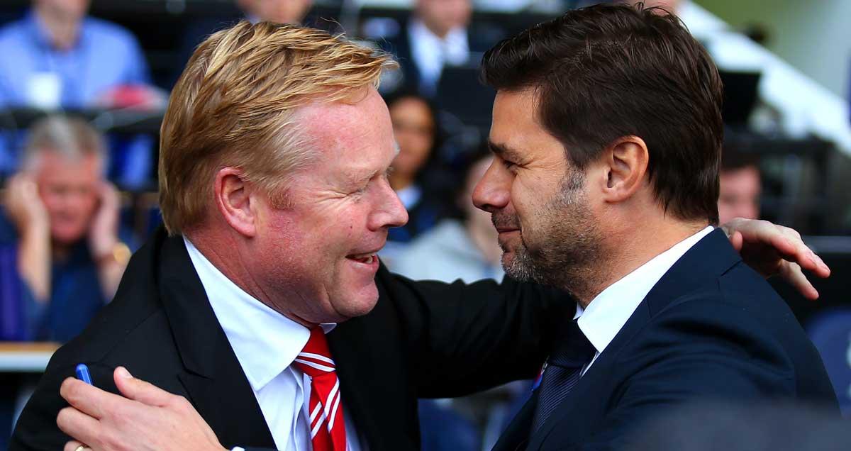 Southampton-and-Tottenham-manager's-Ronald-Koeman-and-Mauricio-Pochettino-embrace