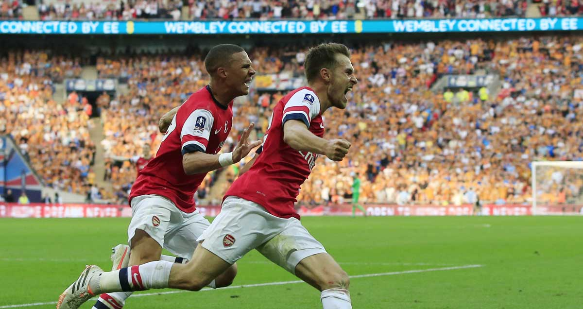 Aaron Ramsey celebrates what proved to be the winning goal in the 2014 FA Cup final