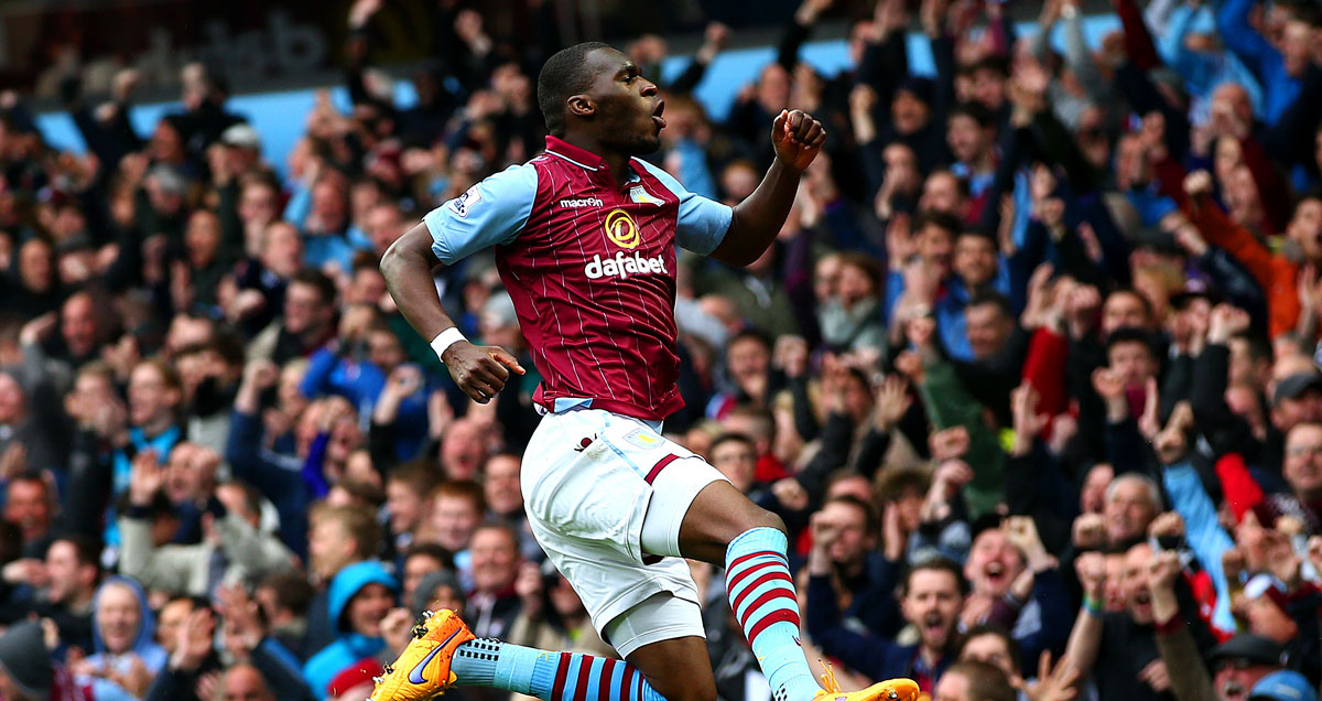 Christian Benteke takes to the skies to celebrate another Aston Villa goal