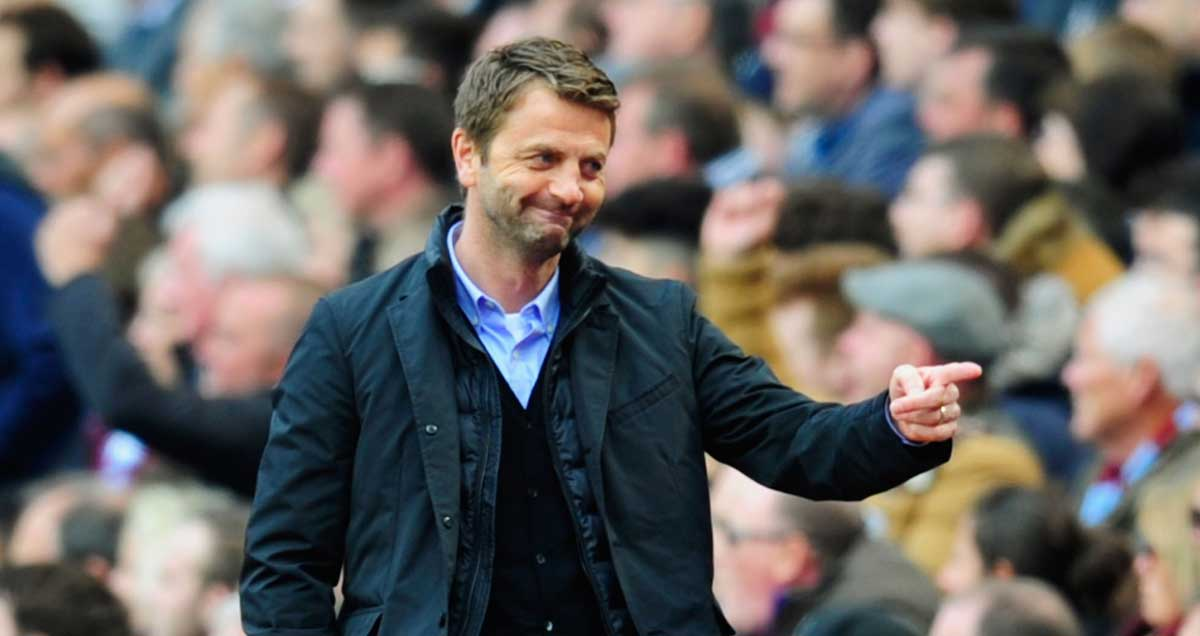 Aston Villa manager Tim Sherwood in an oh you guys type of pose