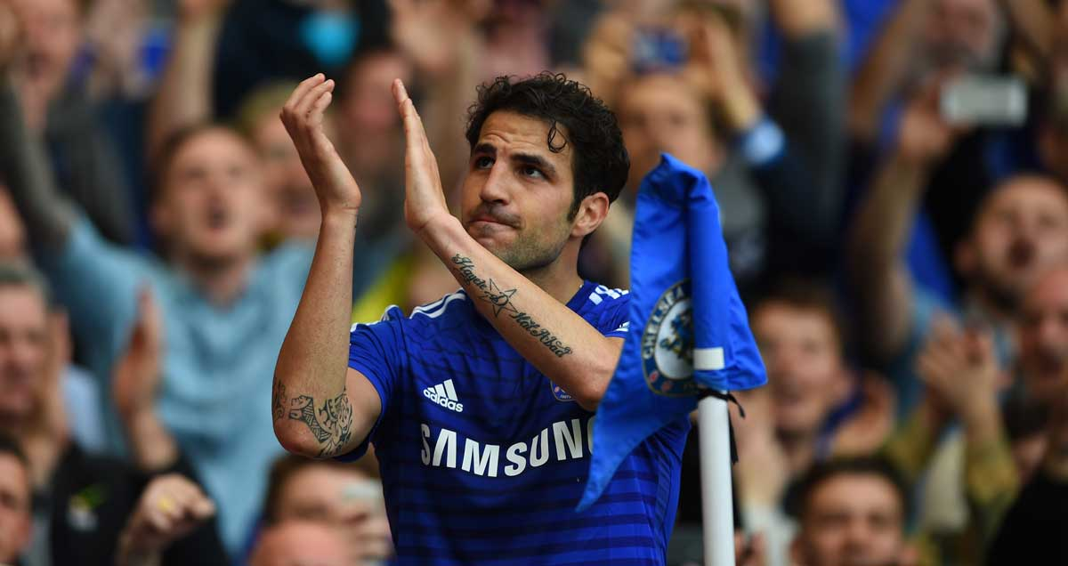 Cesc Fabregas applauds the doting Chelsea fans