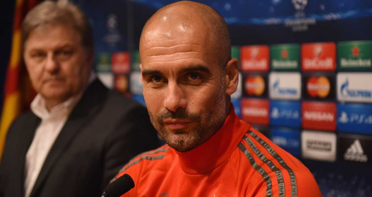Josep Guardiola at the Barcelona v FC Bayern press conference