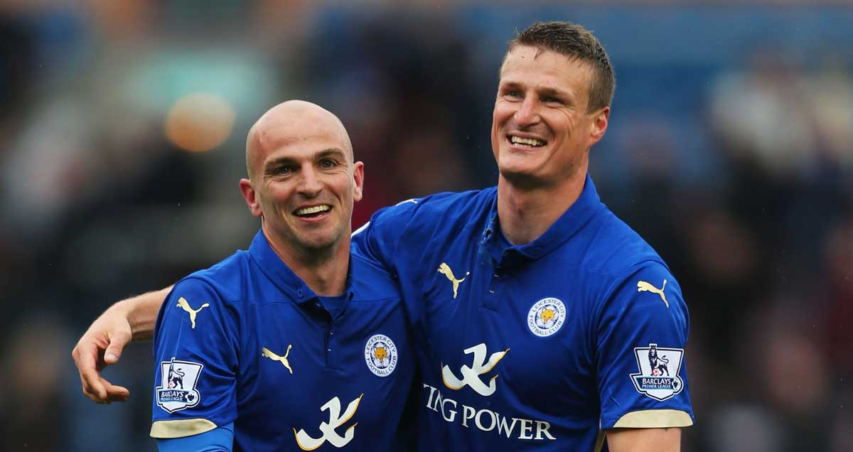 Leicester City stars Esteban Cambiasso and Robert Huth