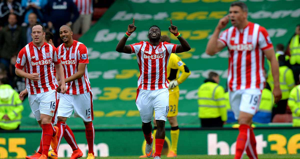 Mame Biram Diouf salutes the heavens for their part in his goal against Liverpool