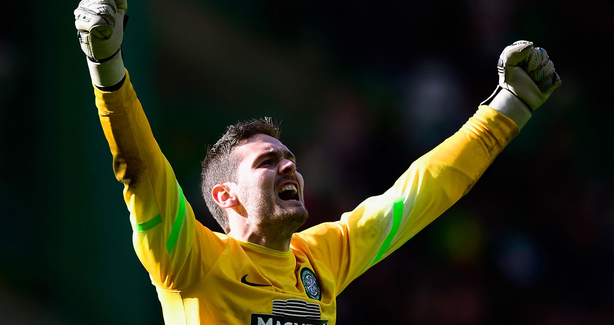 Craig Gordon punches the air in celebration