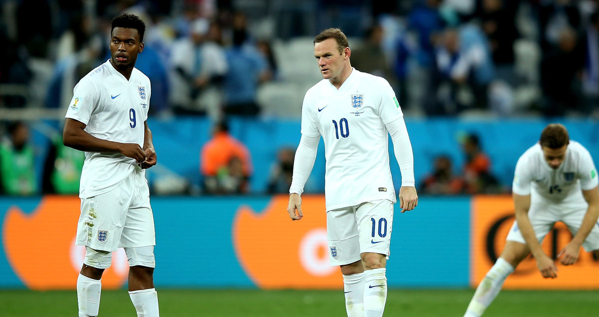 England strikers Daniel Sturridge and Wayne Rooney contemplate yet more international disappointment