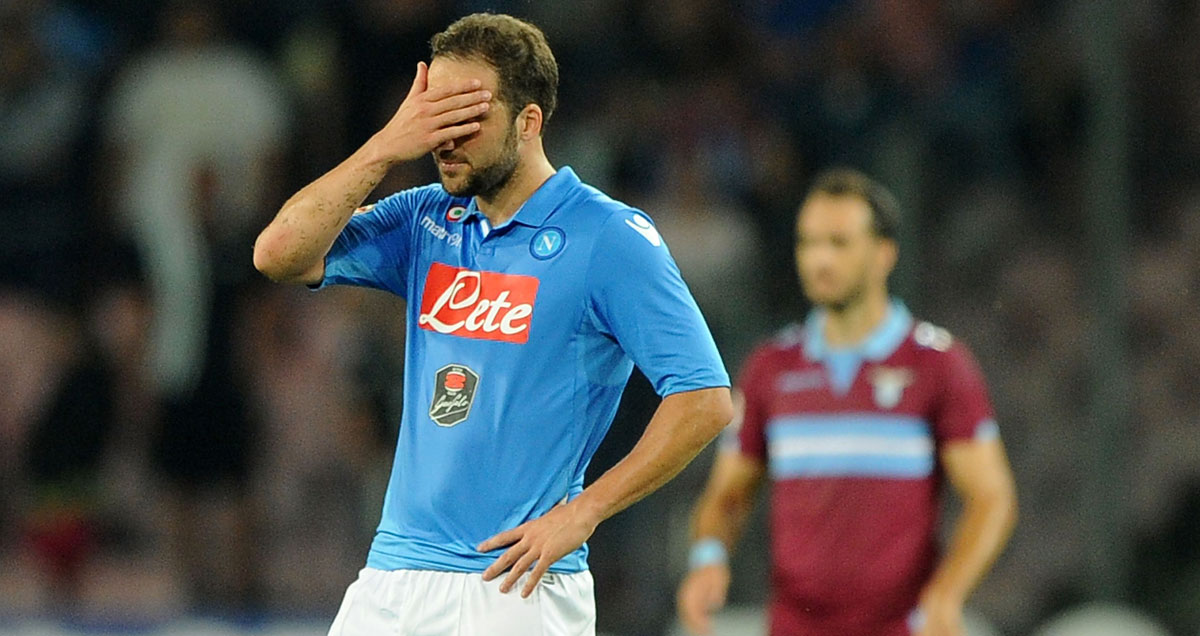 Gonzalo Higuain can't look