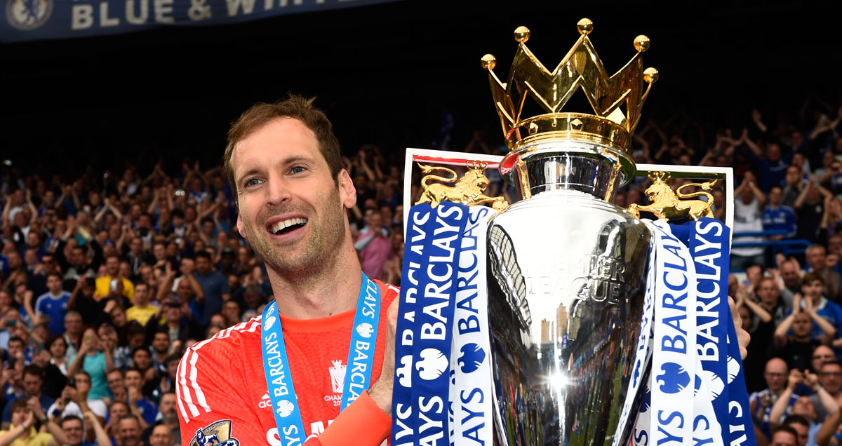 Petr Cech gets his hands on the Premier League trophy before moving to Arsenal