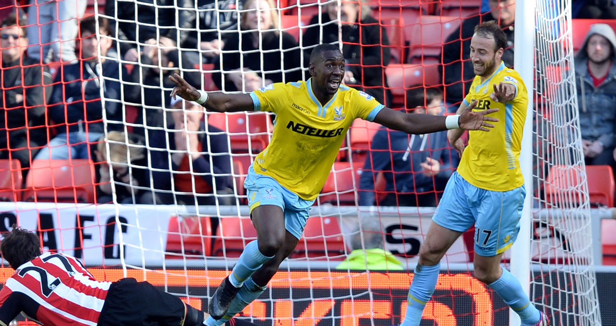 Yannick Bolasie looks as surprised as everyone else as he completes his hat-trick against Sunderland