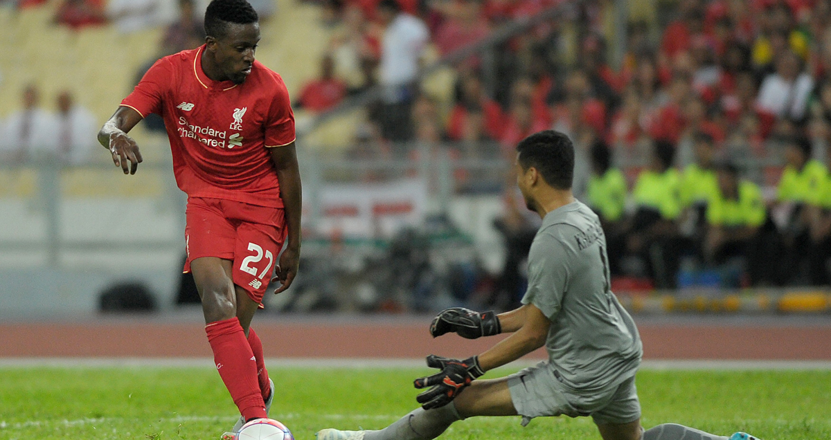 Divock Origi in action against the Malaysia XI
