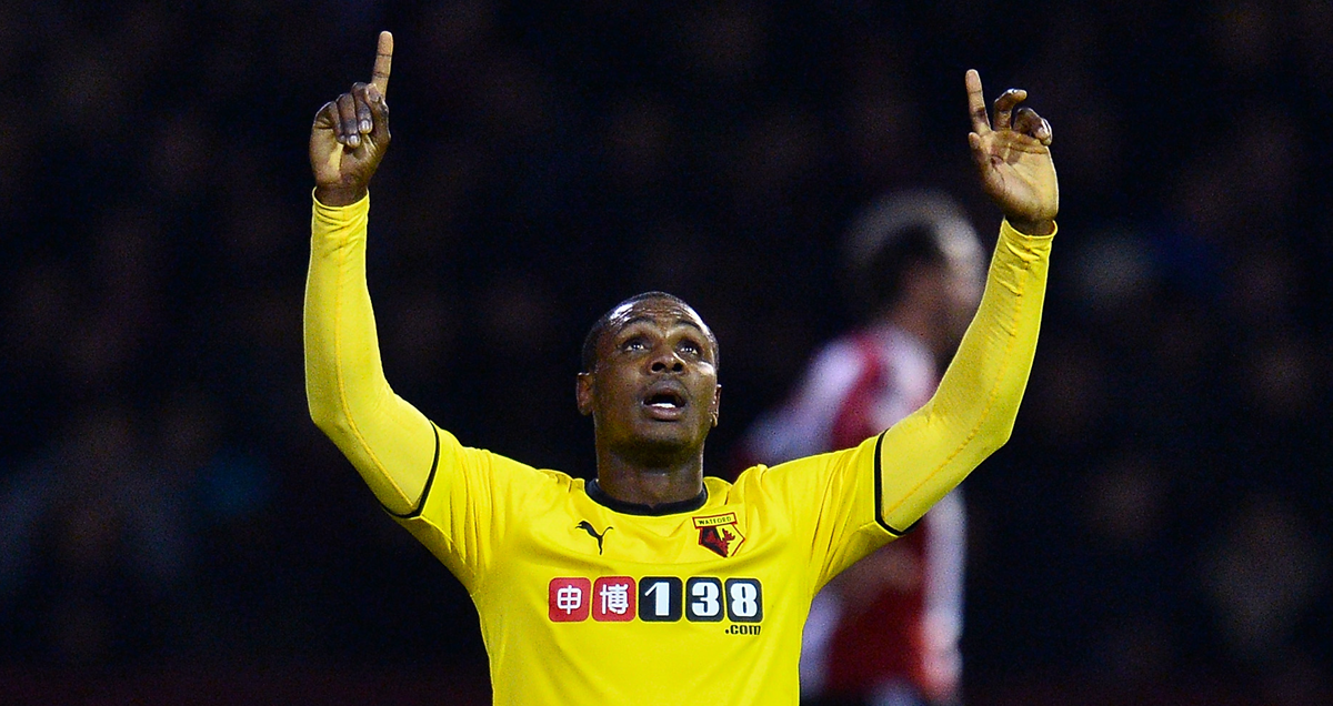 Odion Ighalo celebrates a Watford goal with a nod to his deity of choice