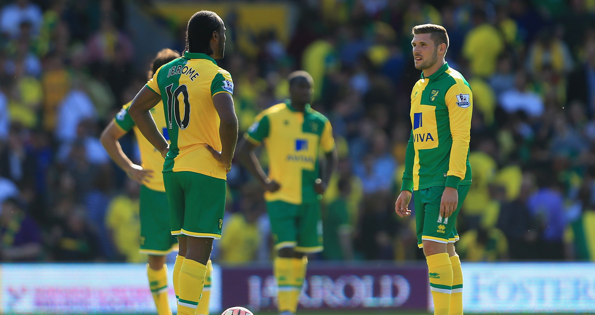 Cameron-Jerome-and-Norwich-colleagues-ponder-Crystal-Palace's-third-goal