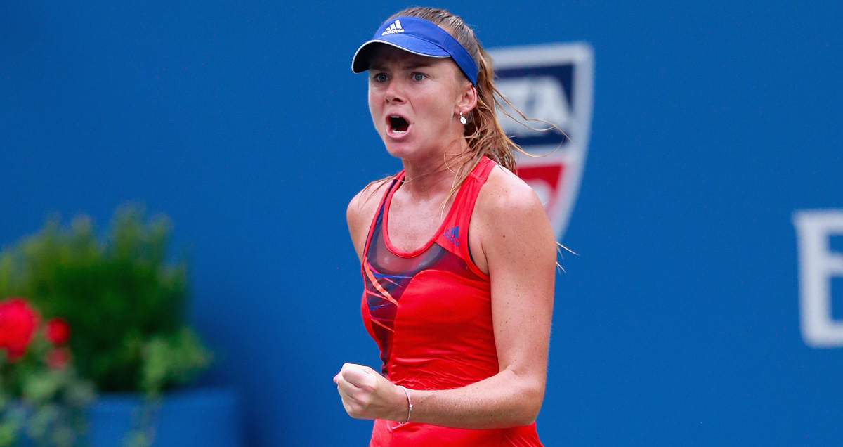 Daniela Hantuchova celebrates a job well done at the 2013 US Open