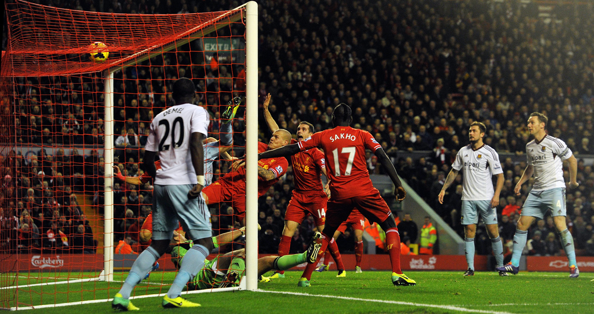 Mamadou Sakho scored for Liverpool against West Ham in December 2013