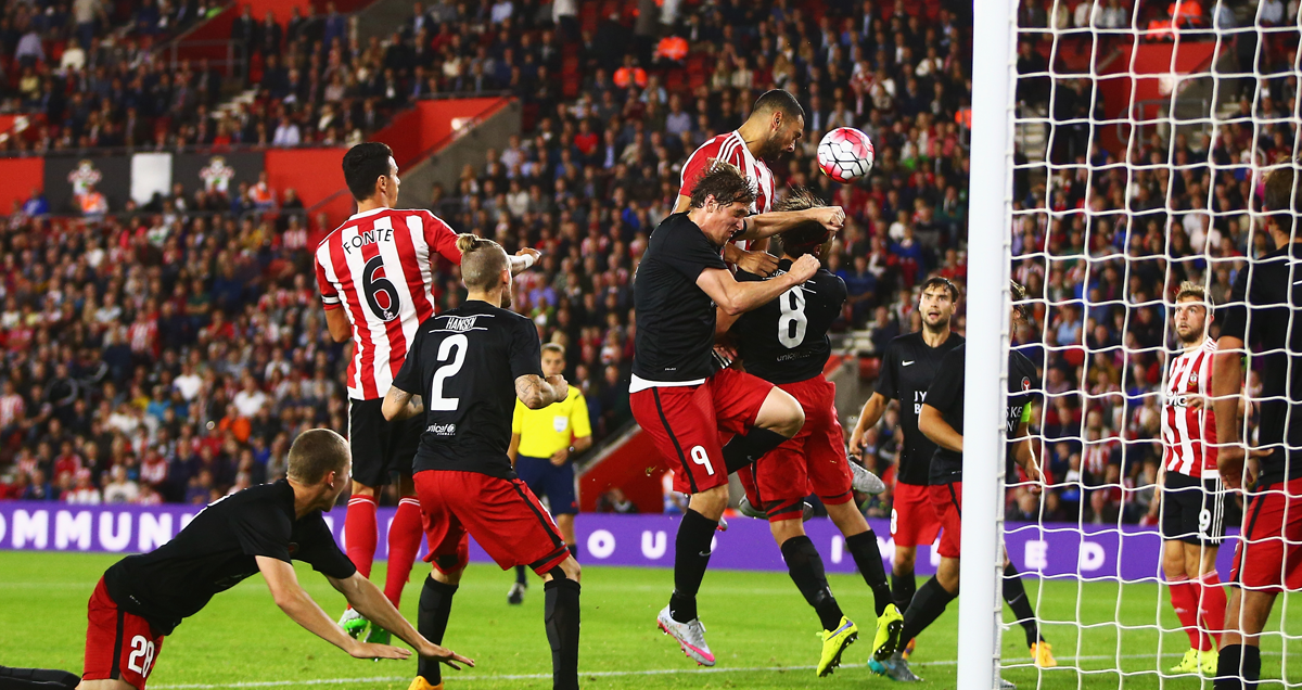 Southampton centre-halves Jose Fonte and Steven Caulker menace the Midtjylland penalty area