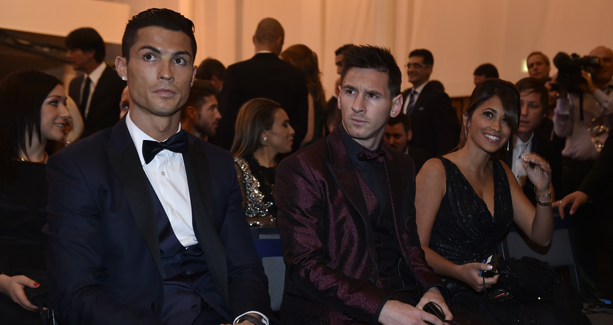 Cristiano Ronaldo and Lionel Messi at the 2014 Ballon d'Or ceremony
