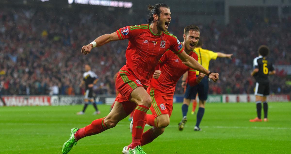 Wales' 'Shaq and Kobe' Gareth Bale and Aaron Ramsey celebrate