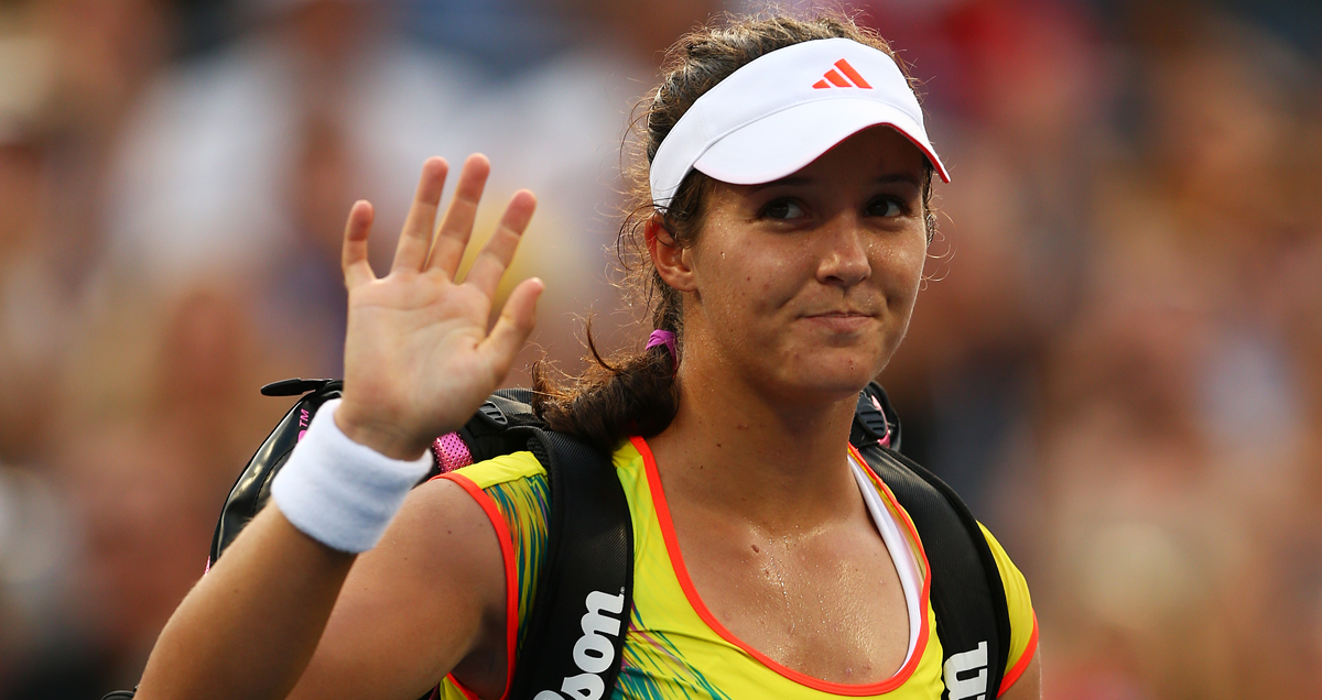 Laura Robson waves Flushing Meadows goodbye after her fourth round loss to Sam Stosur in 2012