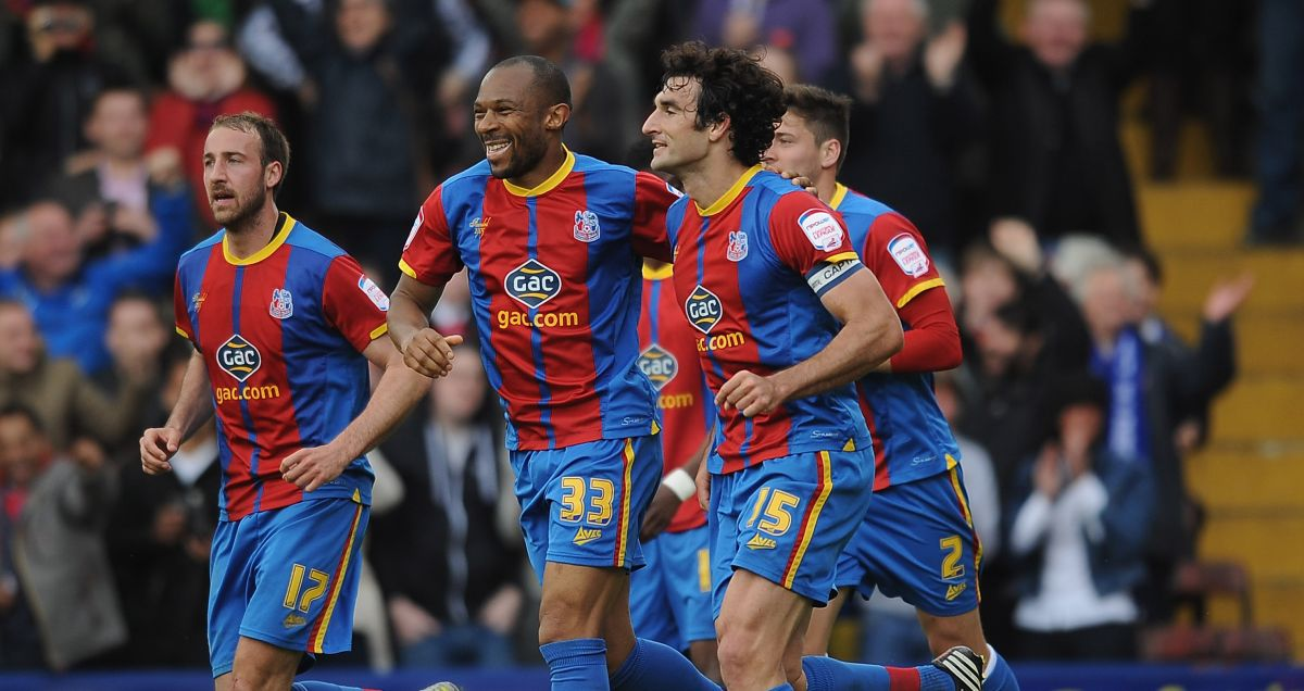 Mile Jedinak celebrates the winner against Peterborough in May 2013