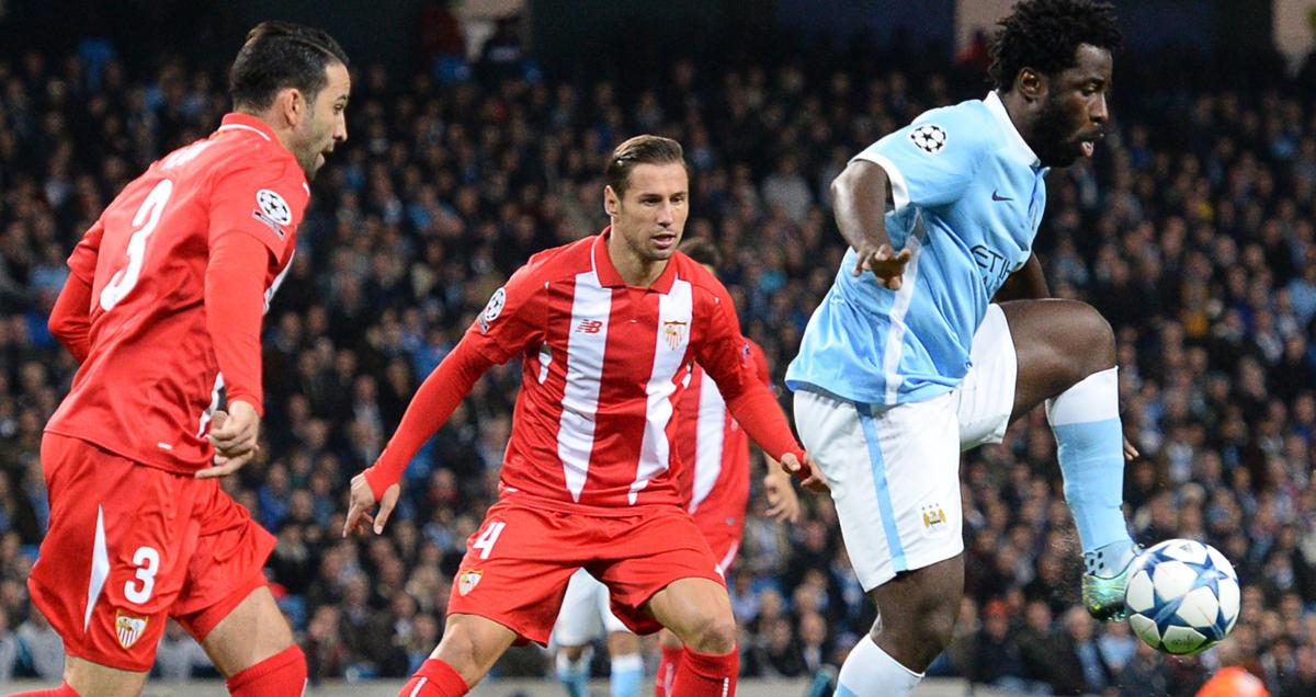 Man City striker Wilfried Bony in action against Sevilla