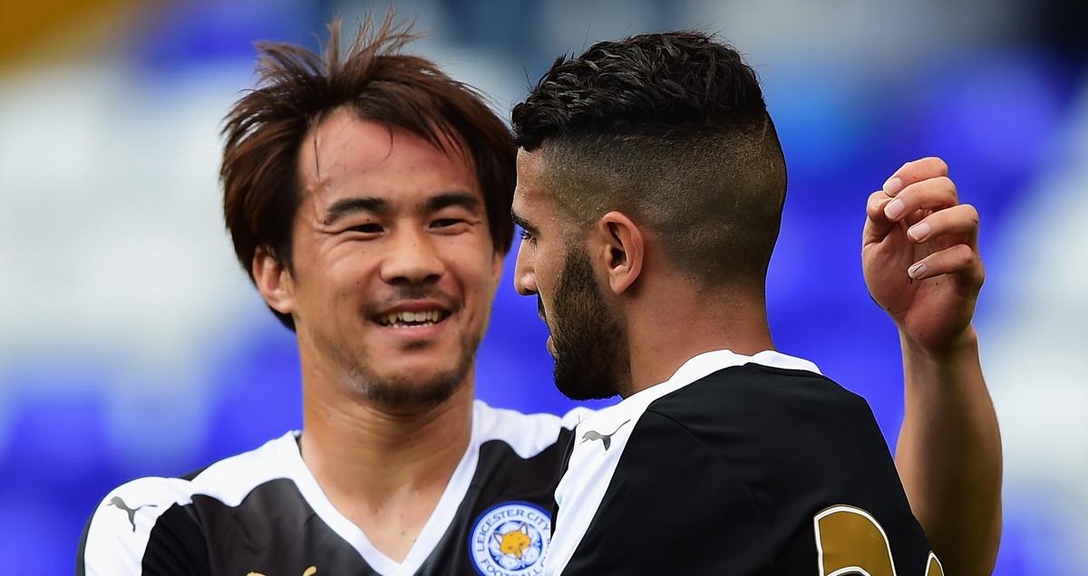 Riyad Mahrez and Shinji Okazaki of Leicester