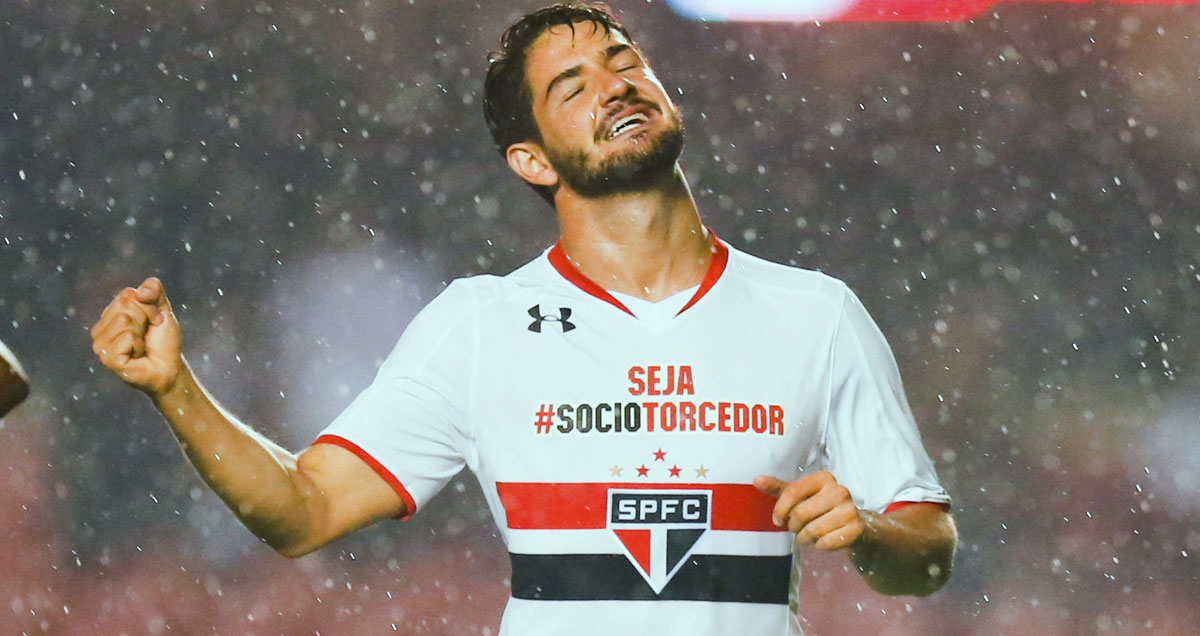 An elated Alexandre Pato is singing in the Sao Paulo rain