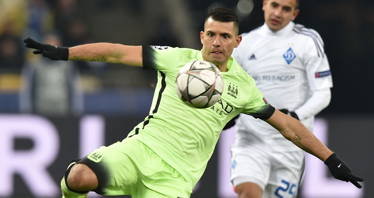 Sergio Aguero unleashes a piledriver in the direction of Dynamo Kiev's goal