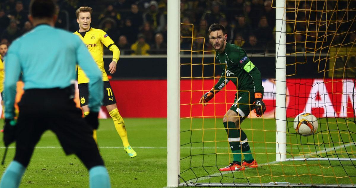 Hugo Lloris watches the ball nestle into his Tottenham net as Dortmund run riot