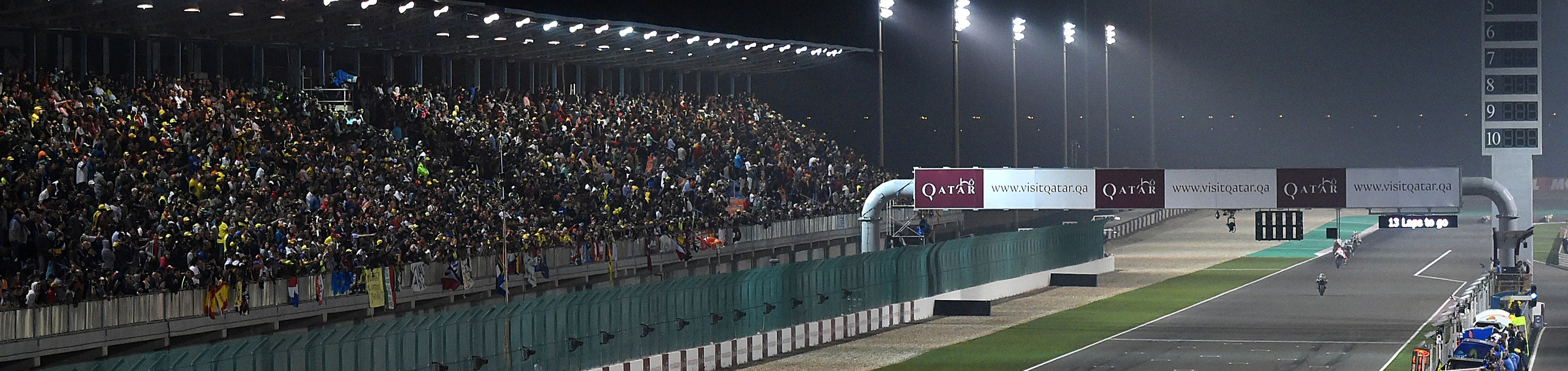 General view of action during the MotoGP of Qatar at Losail International Circuit