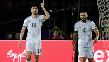 Algeria forward Islam Slimani celebrates
