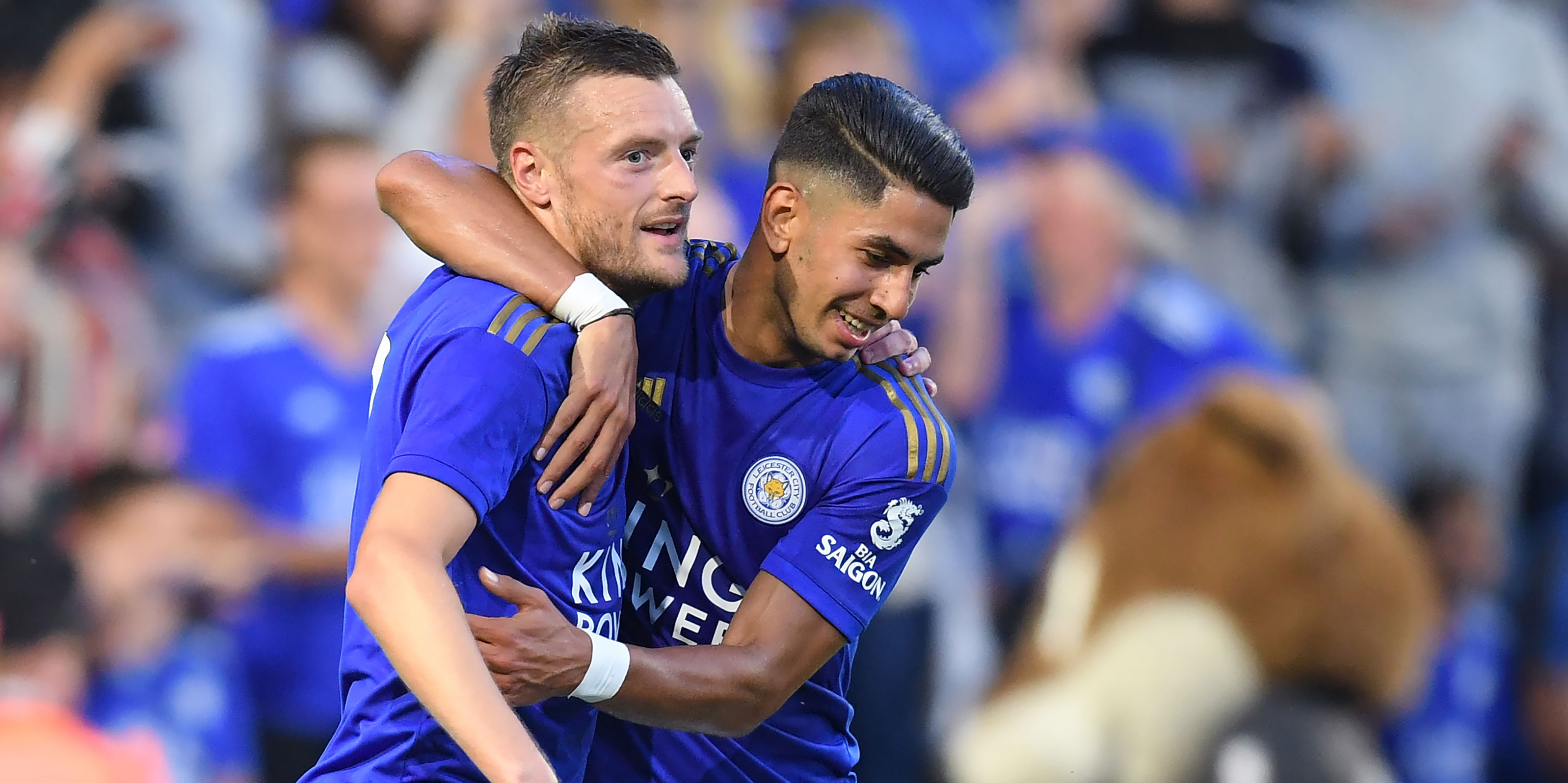 Leicester City players Jamie Vardy and Ayoze Perez