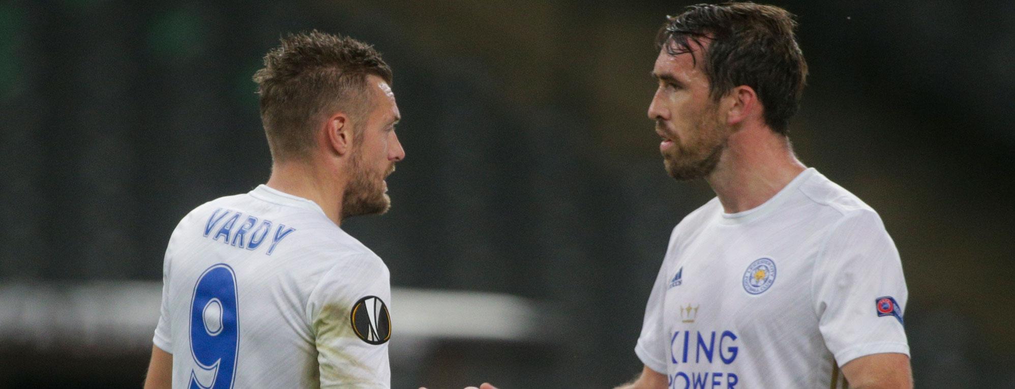 Leicester City players Jamie Vardy and Ayoze Perez