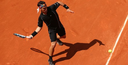 on day two of the 2015 French Open at Roland Garros on May 25, 2015 in Paris, France.