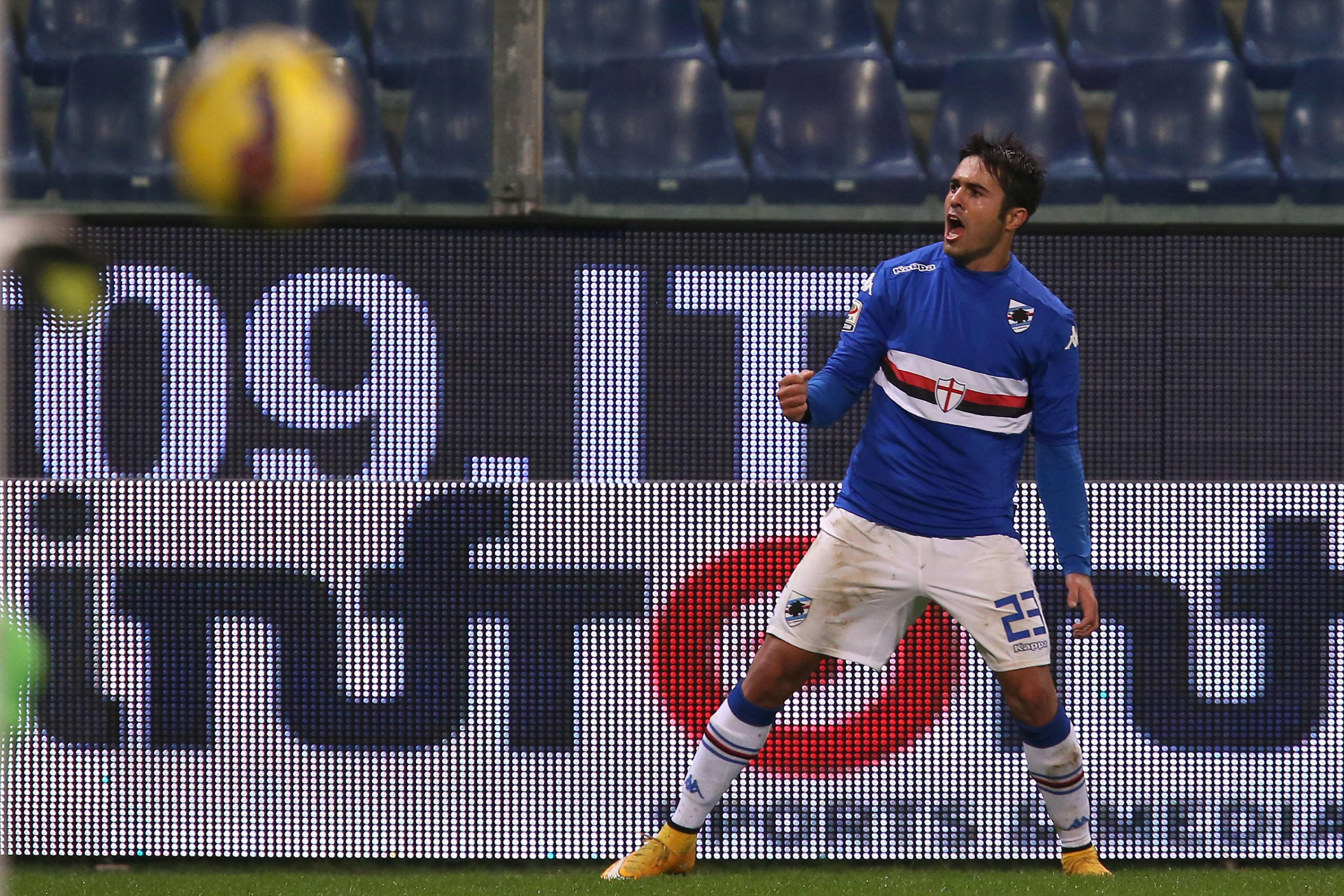 Eder esulta dopo un gol con la sua Sampdoria