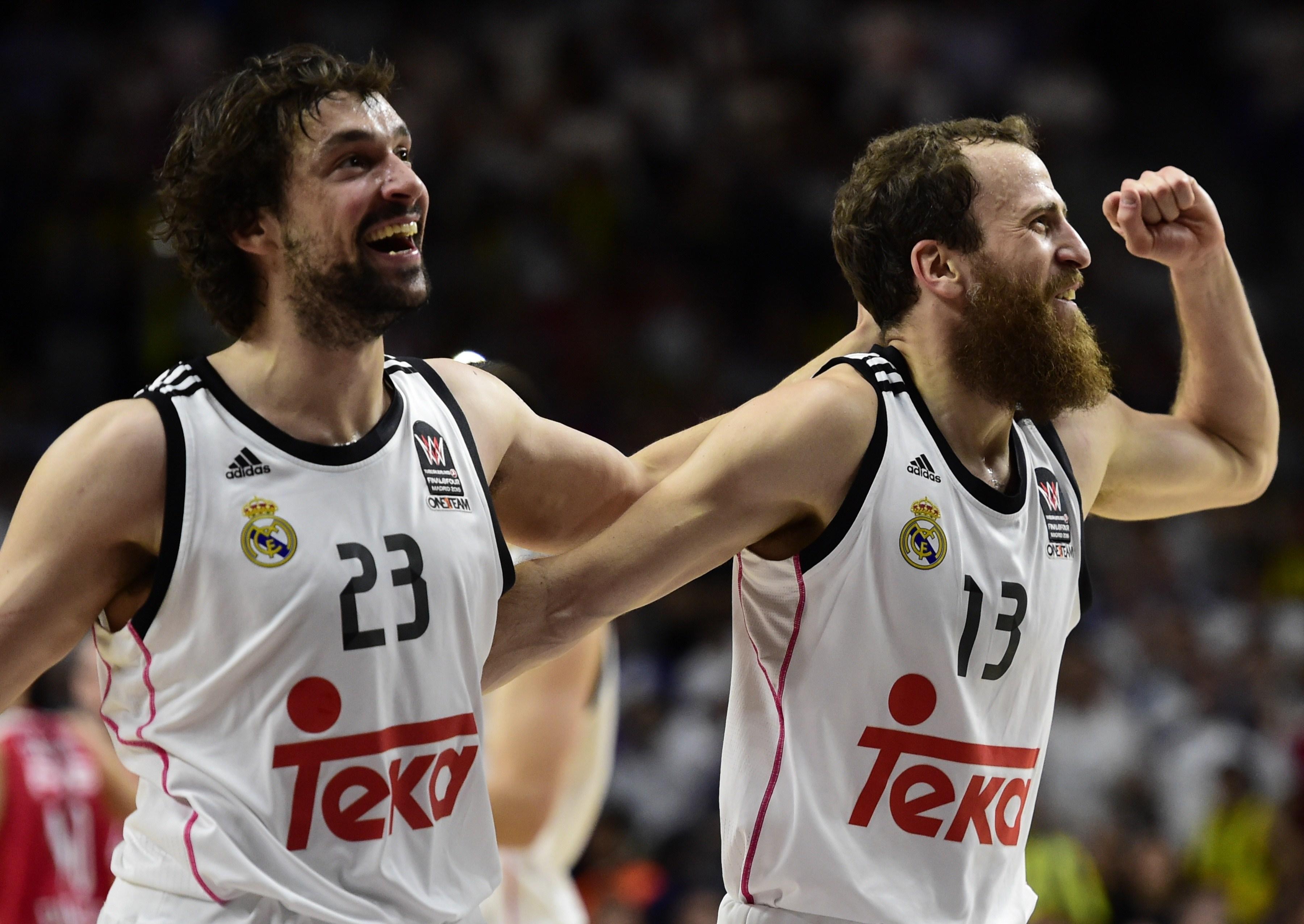 Sergio Llull e Sergio Rodriguez, campioni d'Europa 2015 con il Real Madrid