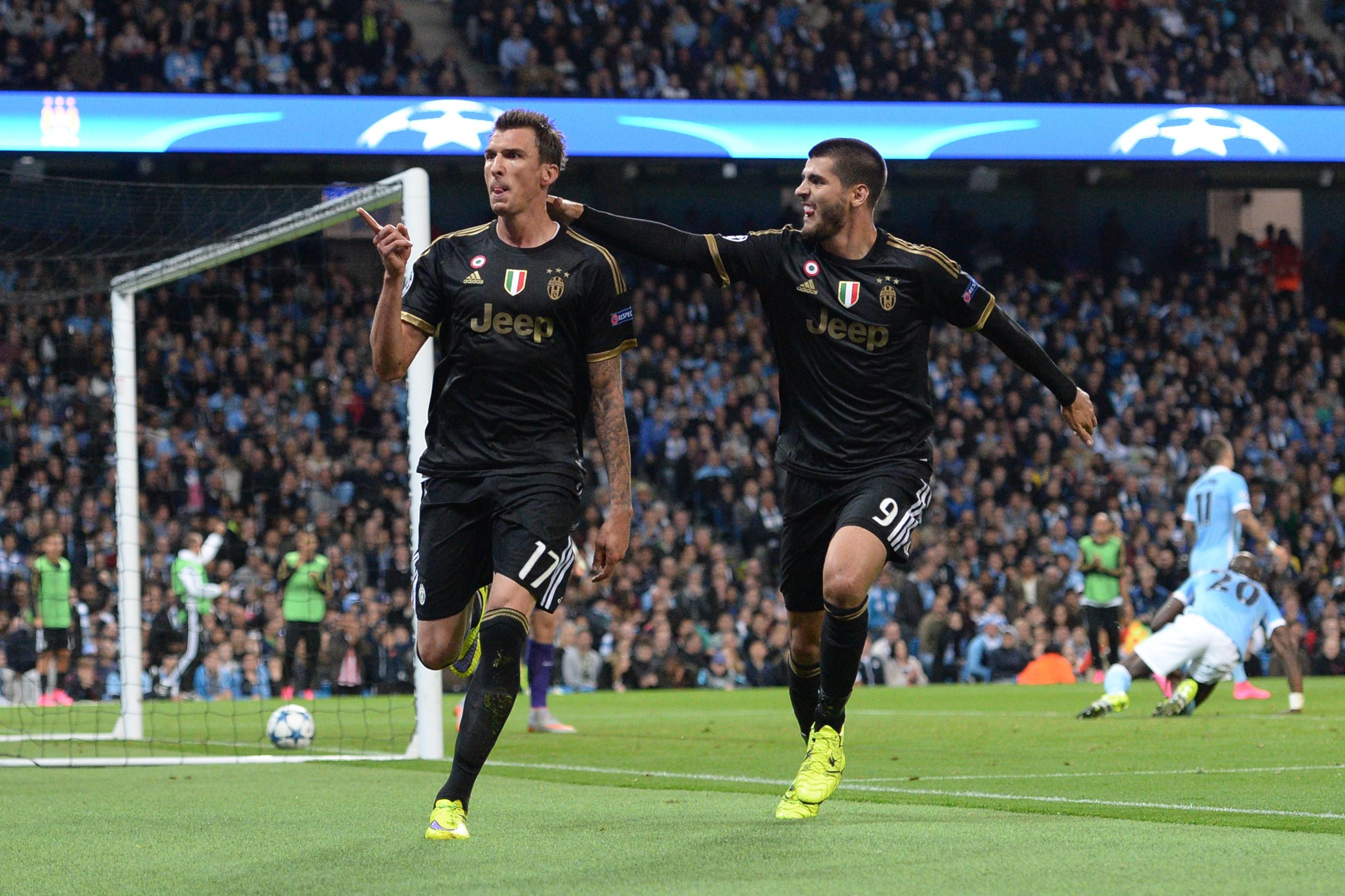 L'esultanza di Mandzukic e Morata dopo il gol del momentaneo 1-1 al City
