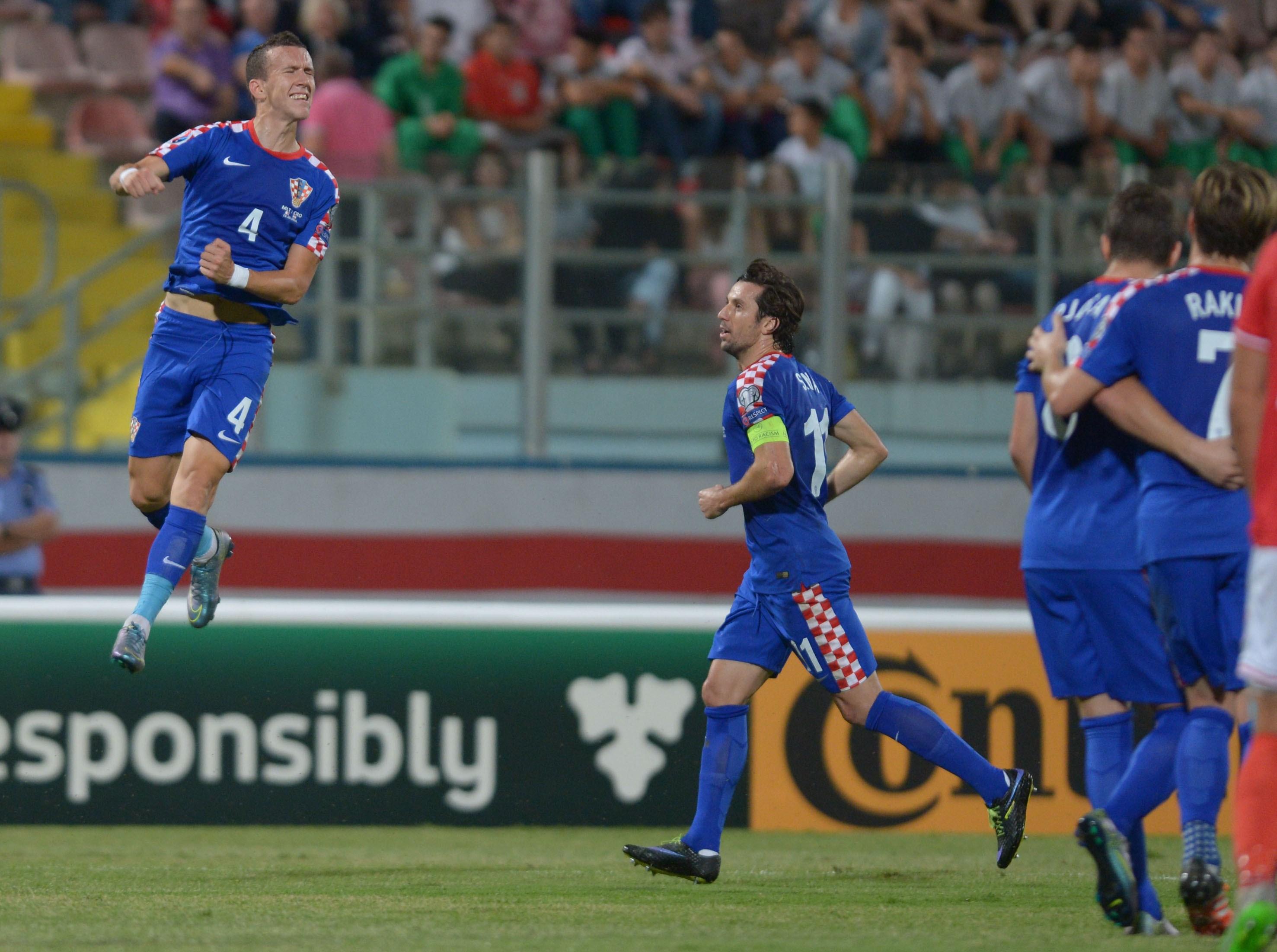 L'esultanza di Ivan Perisic dopo il gol partita con Malta