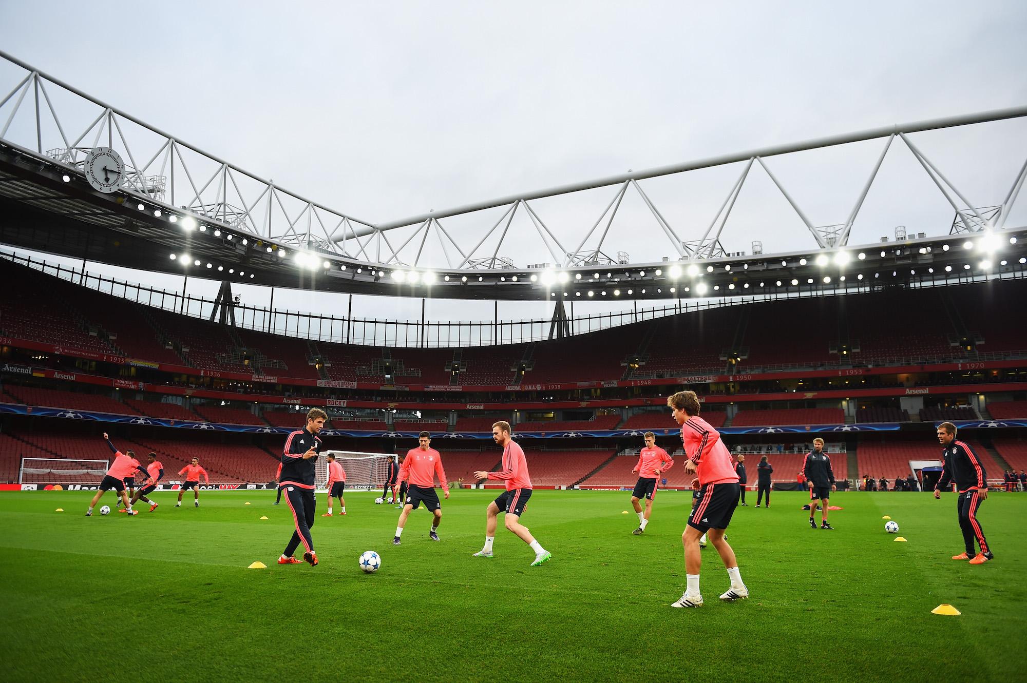 L'allenamento del Bayern Monaco all'Emirates