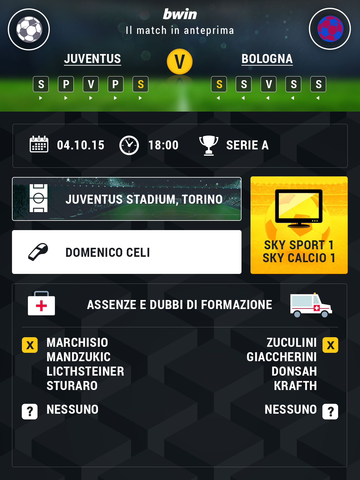 Info Preview Juve-Bologna