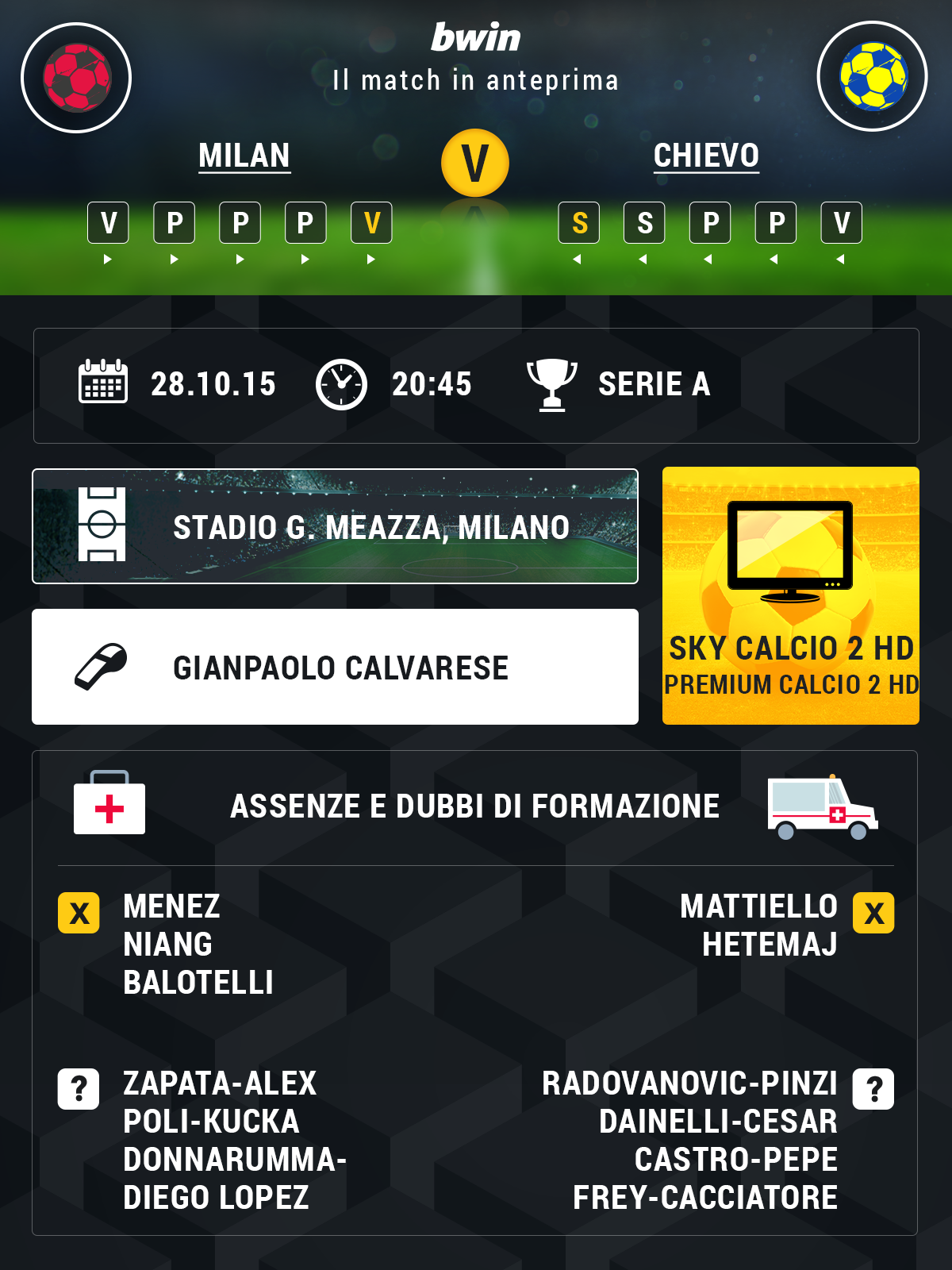 Info Preview Milan-Chievo 5