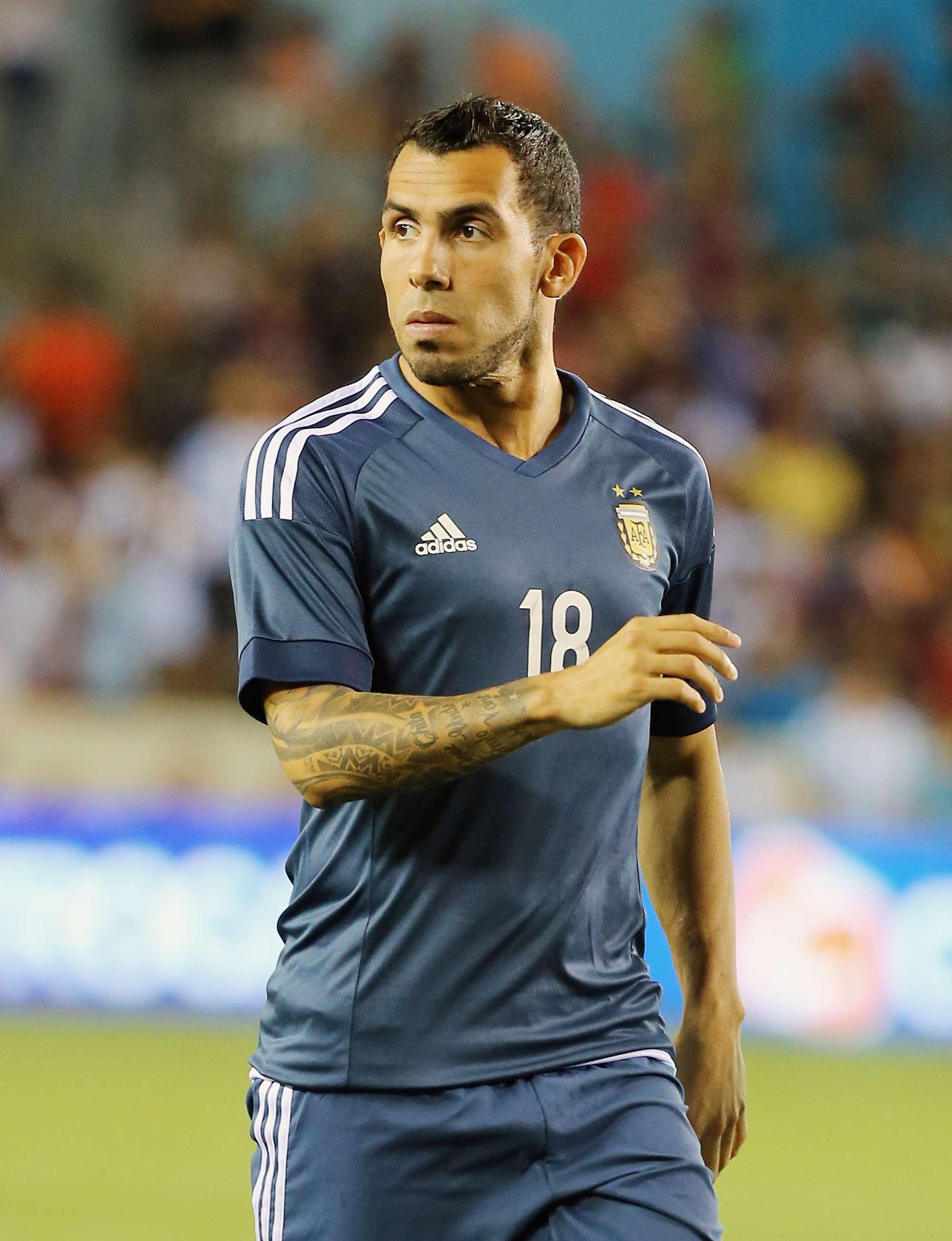Carlos Tevez con la maglia della selezione Argentina
