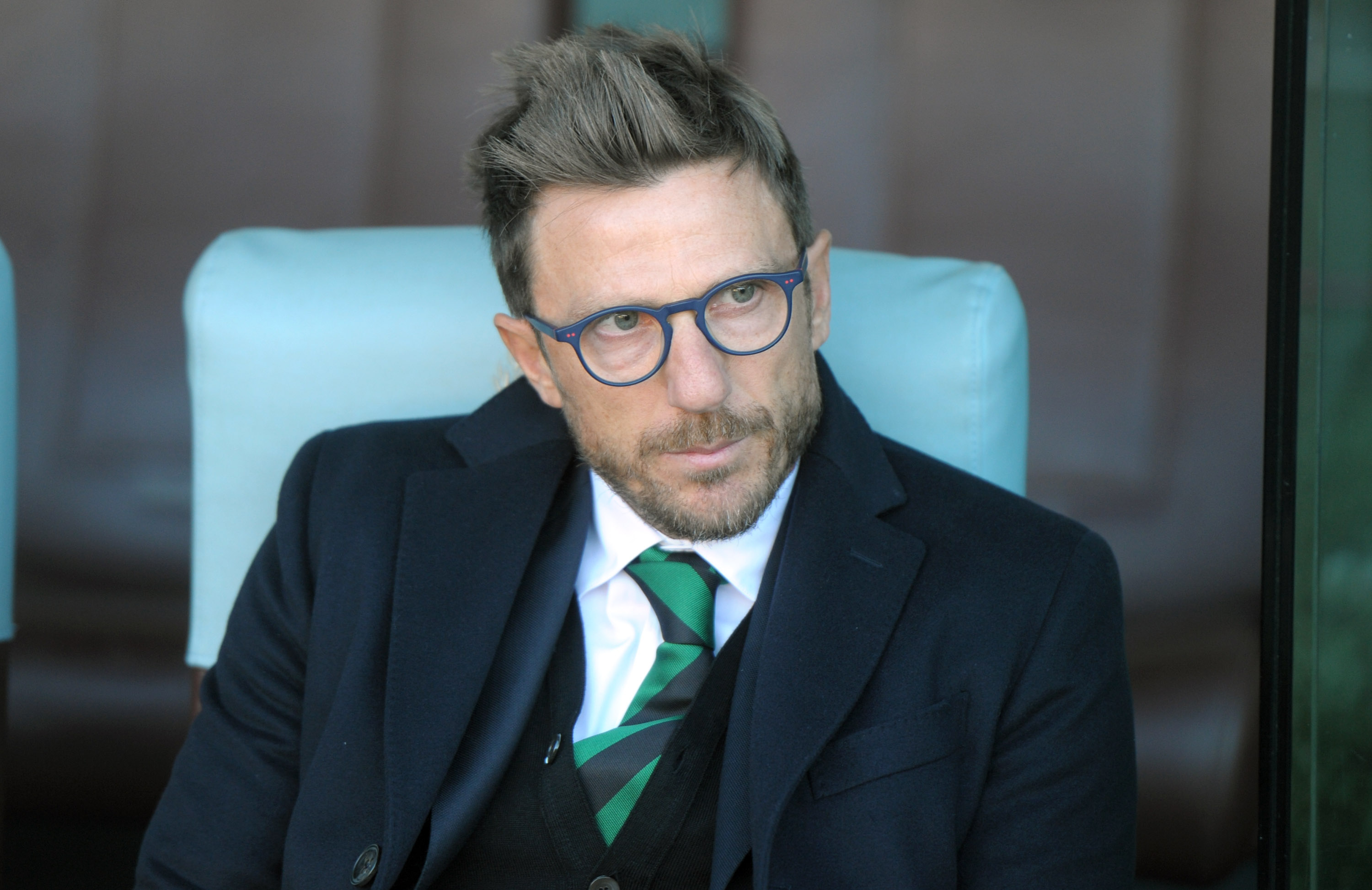 UDINE, ITALY - NOVEMBER 01: Head coach of US Sassuolo Eusebio Di Francesco looks on during the Serie A match between Udinese Calcio and US Sassuolo Calcio at Stadio Friuli on November 1, 2015 in Udine, Italy. (Photo by Dino Panato/Getty Images)