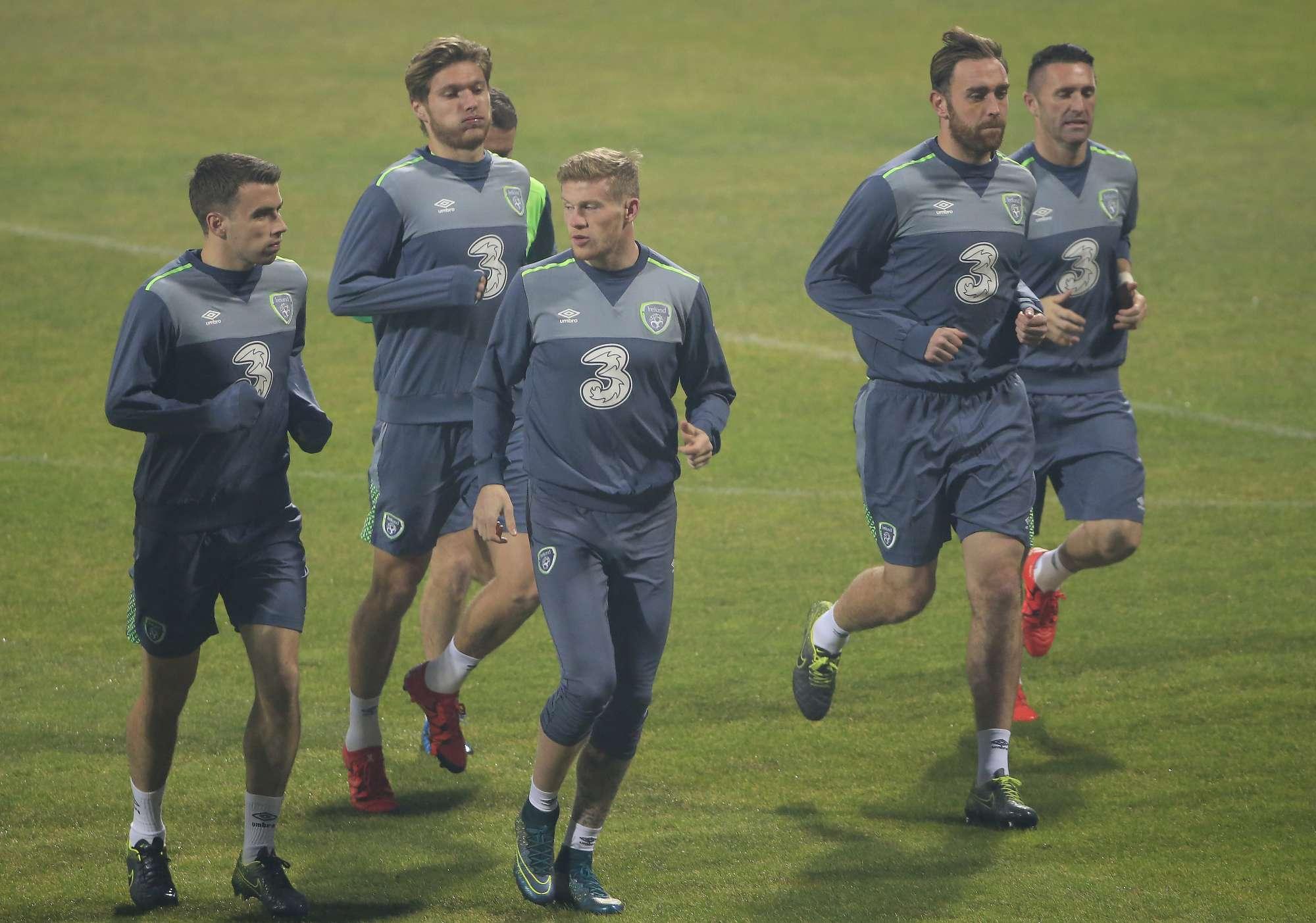 L'allenamento dei giocatori dell'Irlanda verso la gara di questa sera in Bosnia