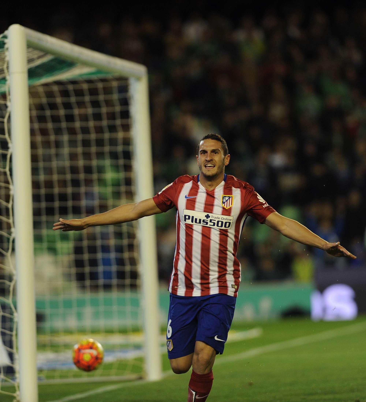L'esultanza di Koke, centrocampista dell'Atletico, a segno contro il Betis
