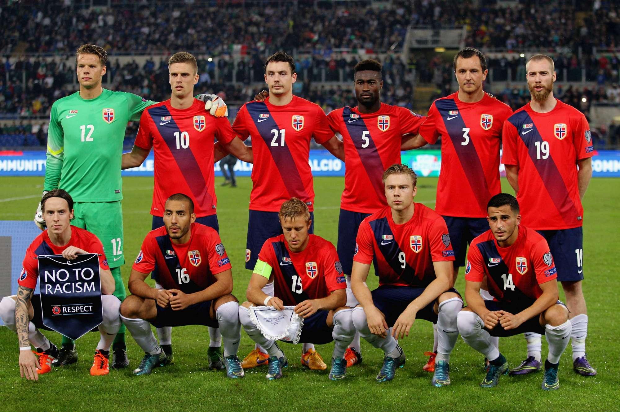La nazionale norvegese, qui nel match contro l'Italia