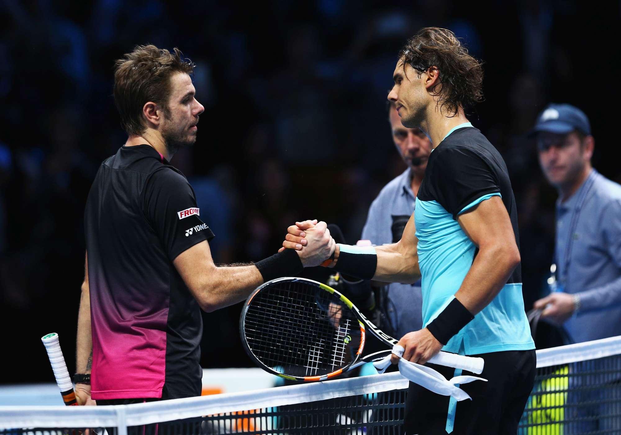 Nadal e Wawrinka dopo il match alle Finals di qualche giorno fa