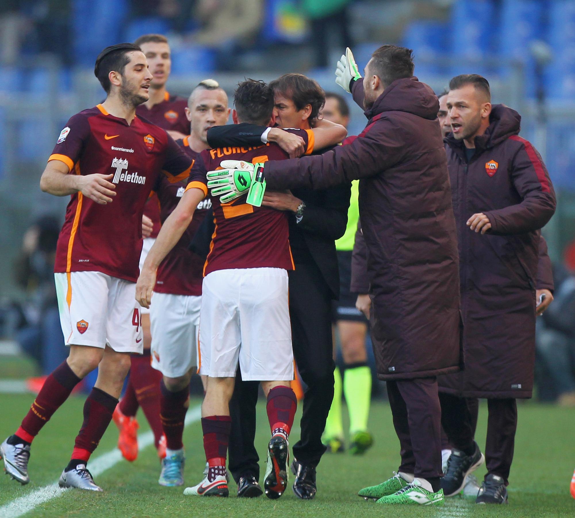 Dichiarazione d'intenti dello spogliatoio della Roma dopo il gol di Florenzi