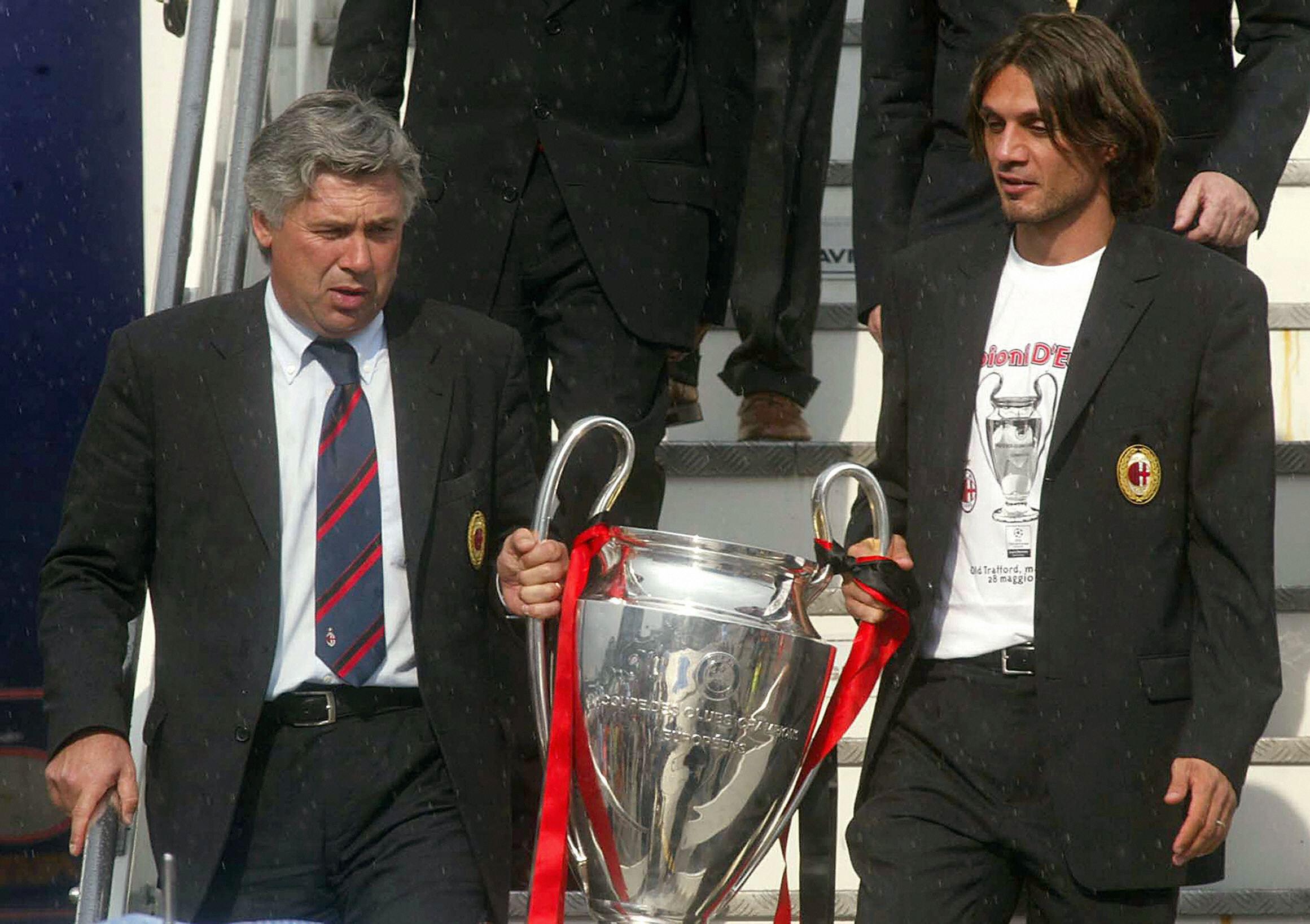 Carlo Ancelotti e Paolo Maldini con la Champions League 2002/03